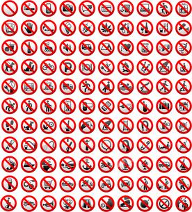 110 Prohibition signs, vector illustrationのイラスト素材 [FYI03100822]