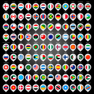 108 Map marker with flags. Vector illustration 10epsのイラスト素材 [FYI03100825]