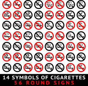 13 symbols of cigarettes, 52 round signs, vector illustrationのイラスト素材 [FYI03100828]