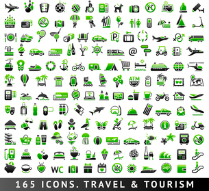 165 bicolor (green and gray) icons. Travel and Tourismのイラスト素材 [FYI03100829]