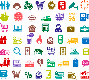 Shopping colored icons, vector illustrationsのイラスト素材 [FYI03100834]