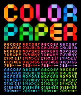 Spectral alphabet folded of ribbon paper colour. Set from eight different colors on a black backgrouのイラスト素材 [FYI03100835]