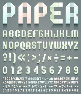 Alphabet folded of perforated paper. Four different colors, vector illustrationのイラスト素材 [FYI03100838]