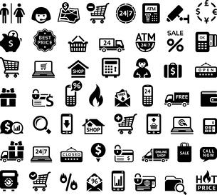 Shopping iconsのイラスト素材 [FYI03100841]