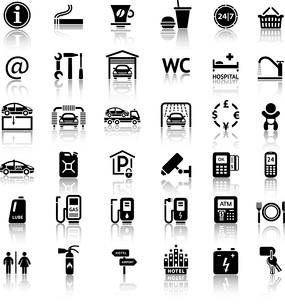 Car services and Repair 36 icons. Vector illustrations, silhouettes isolated on white backgroundのイラスト素材 [FYI03100845]