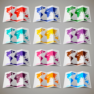 Set of twelve colored maps of the World. Vector illustration 10epsのイラスト素材 [FYI03100846]