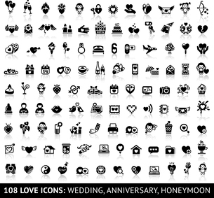 Set of 108 love icons: wedding, anniversary, honeymoon. Vector illustrations, silhouettes isolated oのイラスト素材 [FYI03100847]