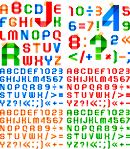 Font folded from colored paper - Arabic numerals and Roman alphabetのイラスト素材 [FYI03100848]