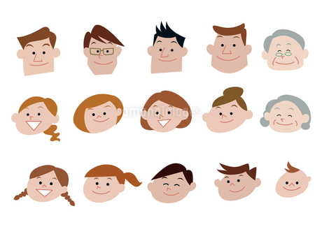 家族、親子、三世代家族の顔バリエーションのイラスト素材 [FYI03100855]