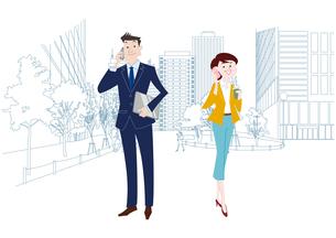 オフィス前で携帯電話で通話をするオフィスのビジネスマンとビジネスウーマンのイラスト素材 [FYI03100858]