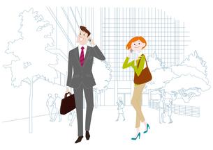 オフィス前で携帯電話で通話をするオフィスのビジネスマンとビジネスウーマンのイラスト素材 [FYI03100860]