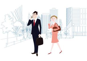オフィス前で携帯電話で通話をするオフィスのビジネスマンとビジネスウーマンのイラスト素材 [FYI03100863]