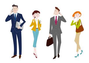 携帯電話で通話するビジネスマンとビジネスウーマンのイラスト素材 [FYI03100864]