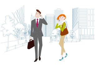 オフィス前で携帯電話で通話をするオフィスのビジネスマンとビジネスウーマンのイラスト素材 [FYI03100866]
