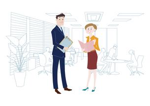 オフィスのビジネスマンとビジネスウーマンのイラスト素材 [FYI03100867]