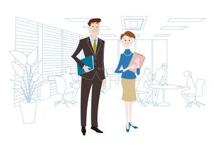 オフィスのビジネスマンとビジネスウーマンのイラスト素材 [FYI03100869]