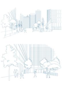 オフィス前広場の風景のイラスト素材 [FYI03100870]