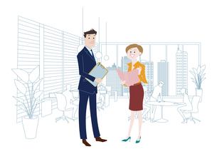 オフィスのビジネスマンとビジネスウーマンのイラスト素材 [FYI03100871]