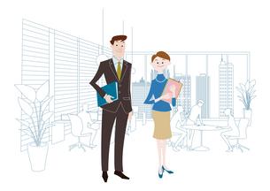 オフィスのビジネスマンとビジネスウーマンのイラスト素材 [FYI03100872]