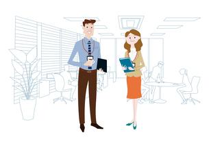 オフィスのビジネスマンとビジネスウーマンのイラスト素材 [FYI03100873]