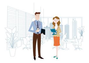 オフィスのビジネスマンとビジネスウーマンのイラスト素材 [FYI03100874]