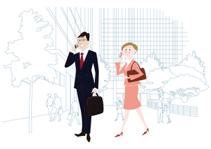 オフィス前で携帯電話で通話をするオフィスのビジネスマンとビジネスウーマンのイラスト素材 [FYI03100875]