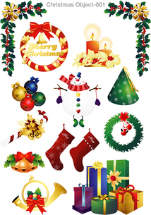 The illustration of Christmas decoration and Christmas patternのイラスト素材 [FYI03101169]