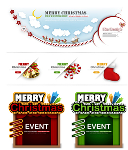 The illustration of Christmas decoration and Christmas patternのイラスト素材 [FYI03101171]