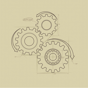 The illustration of gears and wheelsのイラスト素材 [FYI03101409]