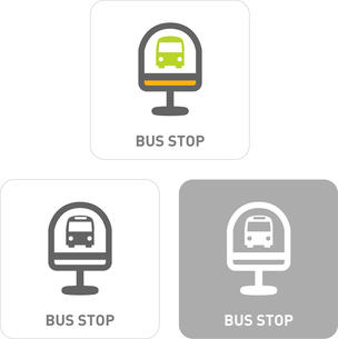 Bus stop Pictogram Iconsのイラスト素材 [FYI03102002]