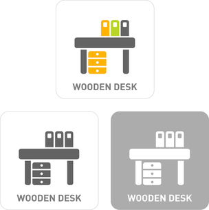 Wooden desk Pictogram Iconsのイラスト素材 [FYI03102013]