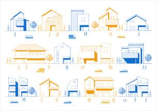 色々なタイプの住宅の線画 人・車・町のイラスト素材 [FYI03102075]