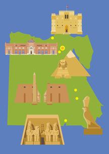 エジプトの観光名所セット(マップ付き)のイラスト素材 [FYI03102080]