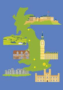 イギリスの観光名所セット(マップ付き)のイラスト素材 [FYI03102081]