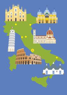 イタリアの観光名所セット(マップ付き)のイラスト素材 [FYI03102082]