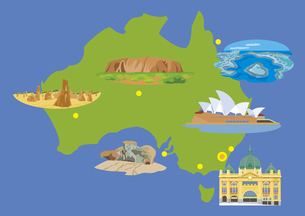 オーストラリアの観光名所セット(マップ付き)のイラスト素材 [FYI03102083]
