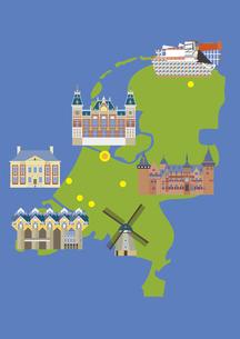 オランダの観光名所セット(マップ付き)のイラスト素材 [FYI03102084]