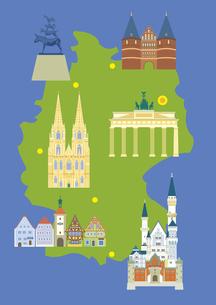 ドイツの観光名所セット(マップ付き)のイラスト素材 [FYI03102085]