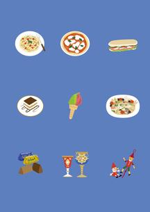 イタリアの料理と土産物のイラスト素材 [FYI03102101]
