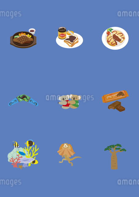 オーストラリアの料理と土産物のイラスト素材 [FYI03102104]
