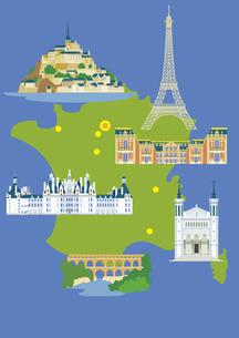 フランスの観光名所セット(マップ付き)のイラスト素材 [FYI03102105]