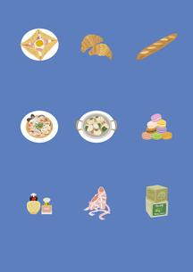 フランスの料理と土産物のイラスト素材 [FYI03102106]
