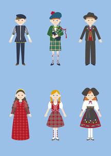 世界の民族衣装(イタリア、イギリス、ドイツ)のイラスト素材 [FYI03102115]
