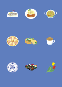 オランダの料理と土産物のイラスト素材 [FYI03102119]