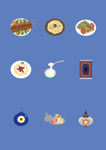 トルコの料理と土産物のイラスト素材 [FYI03102125]