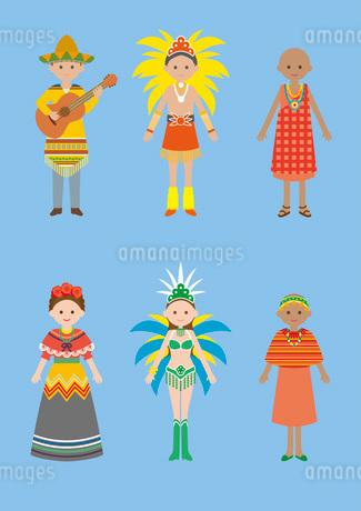 世界の民族衣装(メキシコ、ブラジル、アフリカ)のイラスト素材 [FYI03102126]