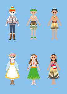 世界の民族衣装(カナダ、ハワイ、ニュージーランド)のイラスト素材 [FYI03102127]