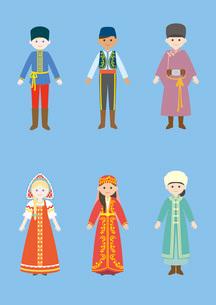 世界の民族衣装(ロシア、トルコ、モンゴル)のイラスト素材 [FYI03102132]