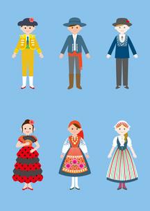 世界の民族衣装(スペイン、ポルトガル、スイス)のイラスト素材 [FYI03102133]