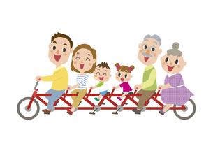 サイクリングする三世代家族のイラスト素材 [FYI03102152]